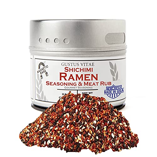 Gustus Vitae - Shichimi Ramen Seasoning & Meat Rub - Non GMO - Magnetic Tin - 2 Ounce - Authentic Gourmet Spice Blend - Crafted in Small Batches