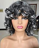 Annivia Black with Grey Highlights Short Afro Curly Wigs with Bangs for Women Kinky Curly Hair Wig for Black Women 2 Tone Ombre Grey Big Bouncy Fluffy Curly Wig