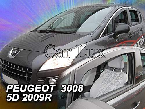 Car Lux AR03911 - Derivabrisas Deflectores de Aire Cortavientos de Viento Delanteros para el 3008 Desde 2009-