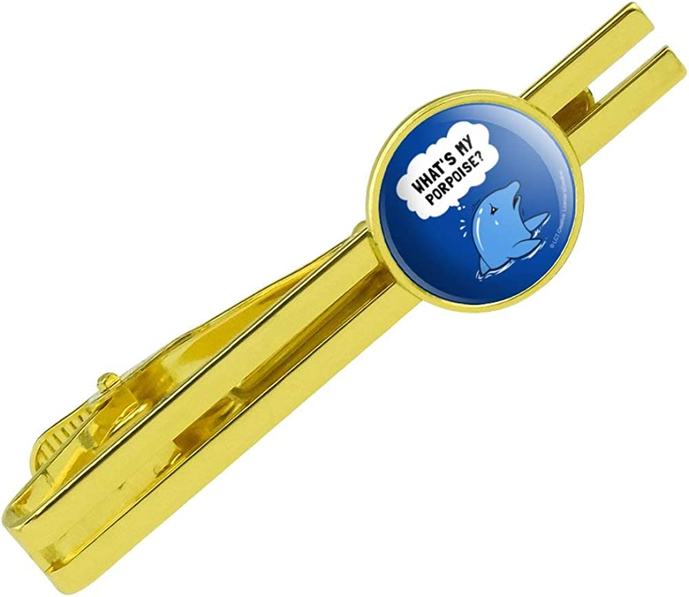 GRAPHICS & MORE What's My Porpoise Purpose Funny Humor Round Tie Bar Clip Clasp Tack Gold Color Plated