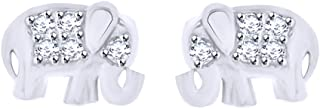 Round Cut White Natural Diamond Accent Cute Elephant Ladies Stud Earrings In 10K Solid Gold