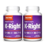 Jarrow Formulas K-Right - 60 Softgels, Pack of 2 - Bone & Cardiovascular Health Support - Contains Vitamin D3 & Three Forms of Vitamin K Including MK-7-120 Total Servings