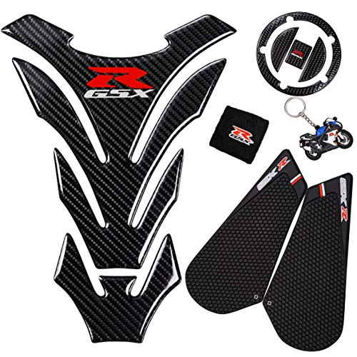 REVSOSTAR 3D Black Rubber Side, Tank Pad Protector, Anti Slip sticker, Tank Side Traction Pad, 3D Gas Cap, Fuel Cap Decal,Tank Protector for GSXR 600 750 2011-2015 (black)