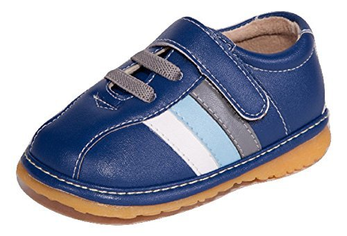 Little Mae's Boutique Navy Blue Stripes Sneaker Squeaky Shoes for Toddler Boys, Ideal Toddler Walking Shoes with Removable Squeaker and Adjustable Strap - Flexible Sole Baby Shoes (3)