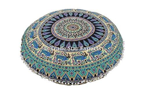 Groß Rund Bodenkissen, Mandala Überwurf Kopfkissen 81,3 cm Dekorative Pouf Polsterhocker, Indien Sitzkissen extérieur, Couverture, Boho Pom Pom kissenrollen