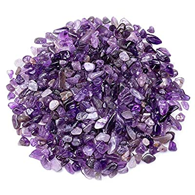UFEEL Amethyst Tumbled Chips Stone Crushed Crystal Quartz Irregular Shaped Stones for Home Decorative Stones Vases Plants Succulents Cactus 0.5 Pound (About 230 Gram)