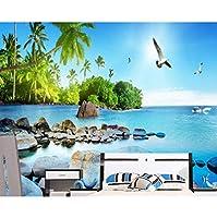 mzznz レトロなファッショナブルなシルクの壁紙美しい3D海の景色の島のテレビの寝室の背景の壁の壁紙-350X250Cm