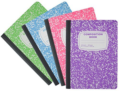 Emraw Neon Color Cover Composition Book with 100 Sheets of wide ruled white paper (3 Random Pack) Neon Purple, Neon Blue, Neon Green, Neon Pink