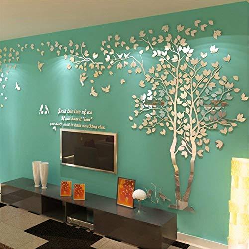 Albero Adesivo da Parete, Alberi e Uccelli 3D Adesivi Murali Arts Wall Sticker Decorativi per TV Par (XL-400 * 200cm, Argento Destra)