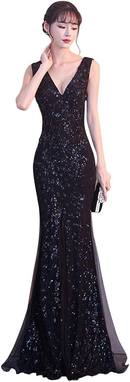 Drasawee Women's Gorgeous Mermaid Long Evening Dress Glitter Split Party Dresses