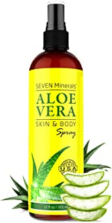 Organic Aloe Vera Spray for Body & Hair - From Freshly Cut Aloe Plant - Extra Strong - Easy to Apply - No T...