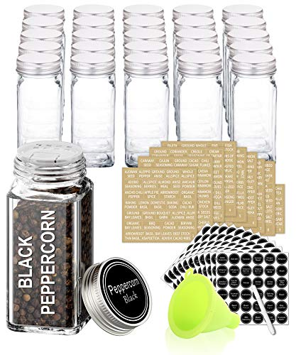 SWOMMOLY 25 Glass Spice Jars with 713 Spice Labels, Chalk Marker and Funnel Complete Set. 25 Square Glass Jars 4OZ, Airtight Cap, Pour/sift Shaker Lid