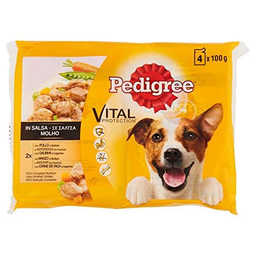 Pedigree Multipack de Comida húmeda para Perros Adultos en Salsa sabores Pollo y Buey con Verduras (4 bolsitas x 100g)