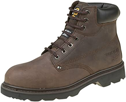 Grafters Padded Black Leather Mens Safety Boots