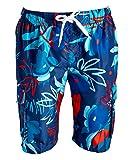 Kanu Surf Men's Echelon Swim Trunks (Regular & Extended Sizes), Baja Navy/Red, Large