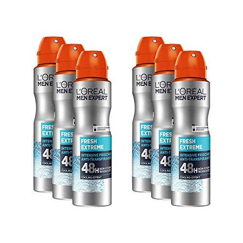 L'Oréal Men Expert Deo Spray Fresh Extreme, 6er Vorratspack, Reguliert Schweißbildung bekämpft Körpergeruch, frischer, langanhaltender Duft (6 x150 ml)