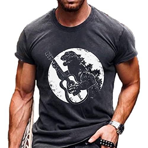 Camiseta Punk Rock con Estampado de Dinosaurio para Hombre, Camisetas de Manga Corta con Cuello Redondo y Estampado gráfico en 3D