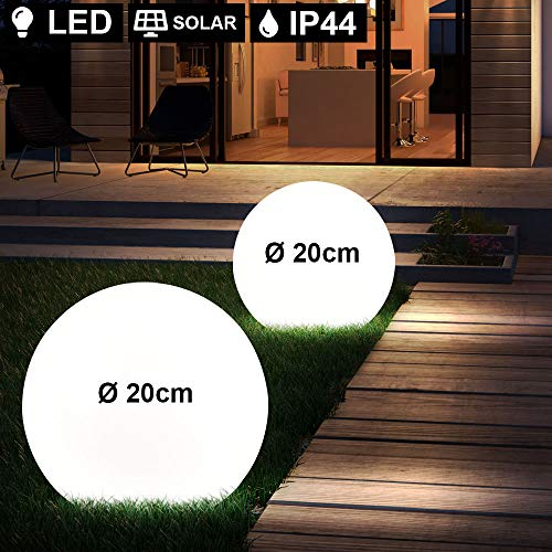 2er Set LED Außen Leuchten Solar Kugel Strahler Terrassen Garten Beleuchtung Hof Steck Lampen