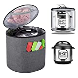 Luxja Dust Cover for 8 Quart Instant Pot (Enclosed on the Bottom), Zipper Closure Cover for 8 Quart Instant Pot (with Accessories Pockets, Patent Pending), Gray (Large)