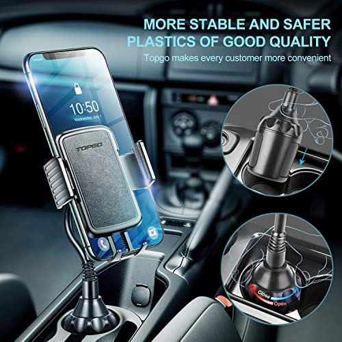[Upgraded] TOPGO Cup Holder Phone Mount Universal Adjustable Gooseneck Cup Holder Cradle Car Mount for Cell Phone iPhone Xs/XS Max/X/8/7 Plus/Galaxy