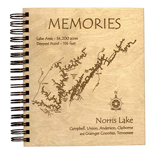 Lake Texoma - Marshall County - OK - Etched Lake Photo Album 9 x 8 in - Laser Etched Wood Nautical Chart and Topographic Depth map.