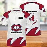 LNH Polo T-Shirt - Canadiens De Montréal Undershirt 3D Sweat-Shirt Unisexe Ados Casual été Hauts à Manches Courtes pour l'exercice Physique (Gift) White + Dark Red-XL