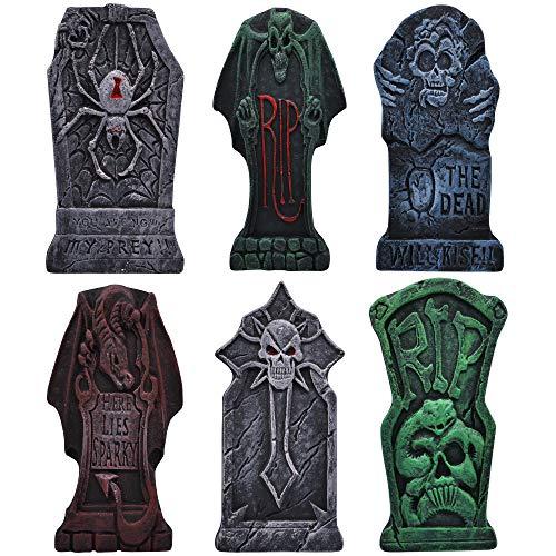 JOYIN 6 Lapidi da cimitero in schiuma lapide con disegno di dragone e pali in metallo bonus per decorazioni da giardino di Halloween