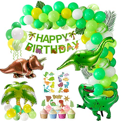 XDDIAS Party Balloons Set, 111 Pcs Birthday Dinosaur Balloons Decorations Garland With Dinosaur Cards And Ribbon, Dinosaur Party Supplies Kit of Children