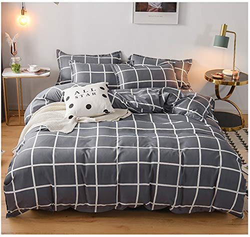 DUIPENGFEI Skin-friendly silky cotton cloth, soft quilt cover, bed sheet, pillowcase, 3-piece bed, gray squares, suitable for 1.2m bed