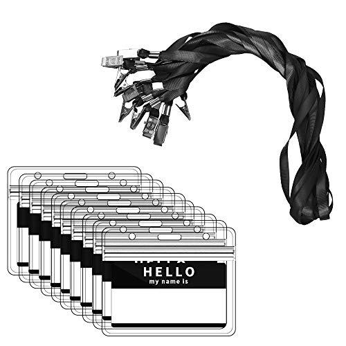 Zalava Confezione da 40 Set Portabadge da Collo con Cordino in Nylon Orizzontale Porta ID Badge Impermeabile e Trasparente per Affari, Esposizione, Ufficio e Scuola, Nero