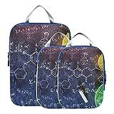 Bolsas organizadoras para viajes, química, ciencia, fórmula, organizadores de embalaje de viaje, organizador de equipaje expandible, juego para equipaje de mano, viaje (juego de 3)