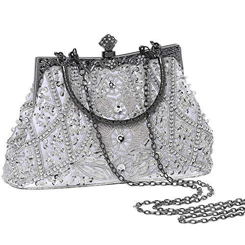 Coucoland Perlen Clutch Damen 1920s Handtasche Abend Party Geldbeutel Elegante Abschlussball Handtaschen Hochzeit Braut Zubehör (1-Weiß)