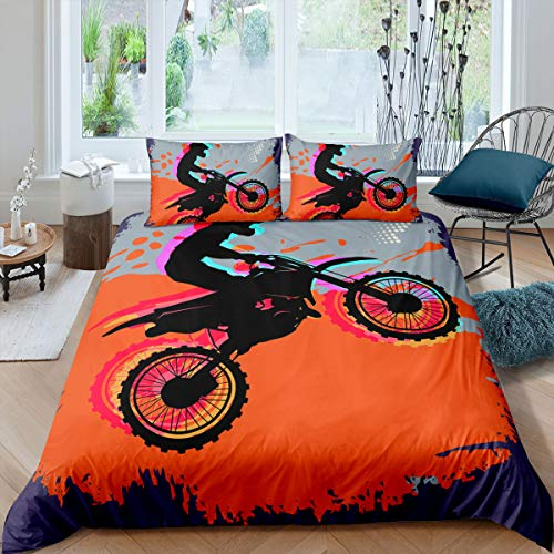 Loussiesd 3D Cool Motorbike Comforter Cover Set Single for Boys Men Speed Motocross Duvet Cover Riding Theme Bedding Set Orange Bedspread Cover with 1 Pillow Shams Microfiber Bed Cover Zipper …