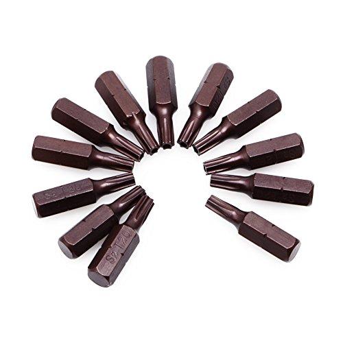 Ontracker 12 piezas T20 1/4 pulgadas hexagonal magnético Torx seguridad destornillador puntas con agujero 25 mm