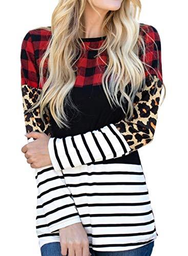 CORAFRITZ Camiseta casual de manga larga con cuello redondo y estampado de leopardo y rayas de color