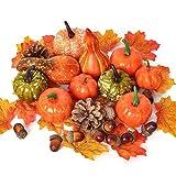 MRah 72pcs Artificial Harvest Pumpkins Decoration Set, Assorted Maple Leaves Mini Pumpkins Gourds Pine Cones and Acorns for Halloween Thanksgiving Autumn Festive Party Supplies