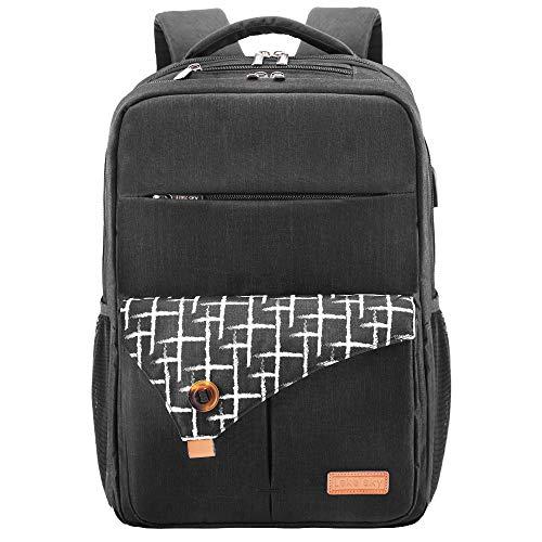 Lekesky Laptop Rucksack Business Herren Damen Notebook Rucksack 15,6 Zoll Laptoprucksack mit Laptopfach & Anti-Diebstahl Tasche, Schwarz