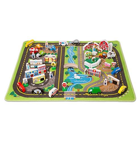 Melissa & Doug Deluxe Spielteppich - Spielzeugset mit Straßen, Fahrzeugen und Spielzeugteilen aus Holz (49 Teile)
