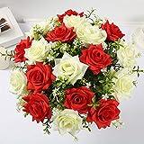 Jun7L Künstliche Seide Rosen Blumen Gefälschte Braut Brautjungfer Blumenstrauß für Hausgarten Hochzeit Dekoration, 18 Kopf, Weiß rot A 45x9cm