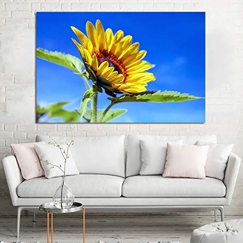 ganlanshu Rahmenlose Malerei Sonnenblume Blauer Himmel Hauptdekoration drucken Moderne Dekoration Malerei Wohnzimmer WandkunstZGQ4541 50X75cm