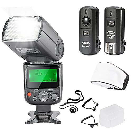 Neewer NW670 TTL Flash Speedlite with LCD Display Kit for Canon DSLR CamerasIncludes:1NW670 Flash124 GHz Wireless Trigger with C1/C3 Cable1Soft/Hard Diffuser1Lens Cap Holder