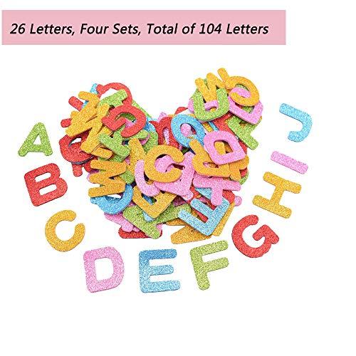 Adesivi Schiuma,104 Adesivi Autoadesivi in Schiuma di Lettere, Adesivi Scintillanti per La Decorazione della Casa