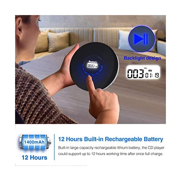 Rechargeable Portable CD Player, Small CD Player for Car, Compact Personal CD Player with LED Backlit Display, 12 Hours Playing Time, Anti-Skip, Shockproof and 3.5mm AUX Cable 4