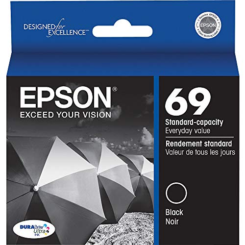 EPSON T069 DURABrite Ultra Ink Standard Capacity Black Cartridge (T069120) for select Epson Stylus and WorkForce Printers