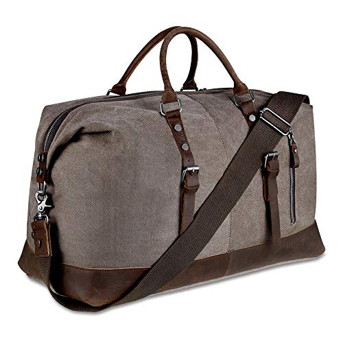 BLUBOON Canvas Overnight Bag Travel Duffel Genuine Leather for Men and Women Weekender Tote (Coffee)