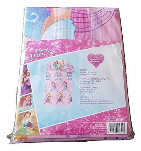 Disney Juego de sábanas para niña Princess para cama individual 1 plaza de algodón sábana encimera + funda de almohada (no sábana bajera)