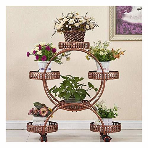 Houder voor planten, 6 niveaus, metalen mand, ladder, voor binnen en buiten, bloem, met structuur voor steunwielen, voor tuin, decoratie Rood Koper