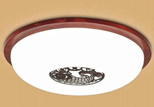 Plafonniers liwenlong Lampe de plafond led étude de salon en bois, éclairage restaurant 38cm occultation gradient