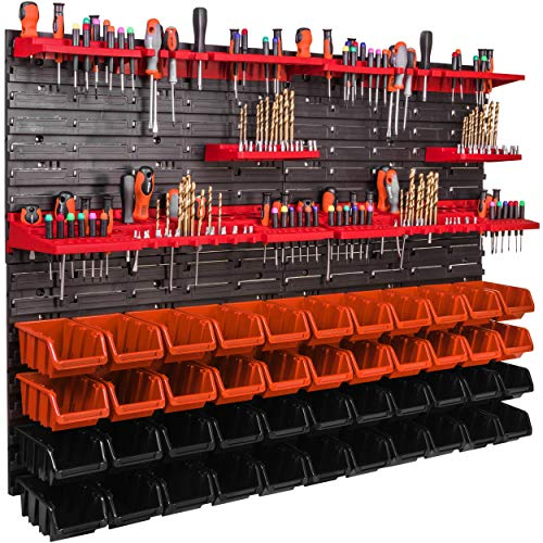 Estante de pared de 1152 x 780 mm, soporte para herramientas, 44 unidades Cajas apilables, estanterías de almacenaje, placas de pared extrafuertes