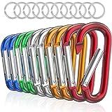 sprookber 3' Aluminum Carabiner D Ring, CaribeenerClips, Spring Snap Hookfor Keychain Clip,Set of 10 (Multicolor)